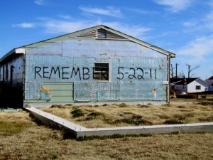 A house painted with the date of the Tornado in Joplin, Missouri