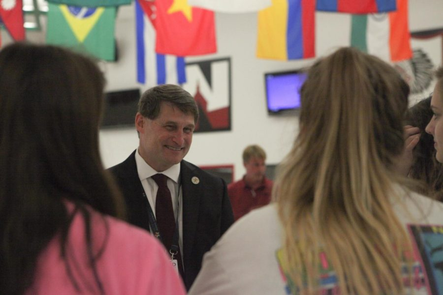 """Superintendent Michael Fulton talks to students during a meet-and-greet at SM North Sept. 25. """"It's important to build community,"""