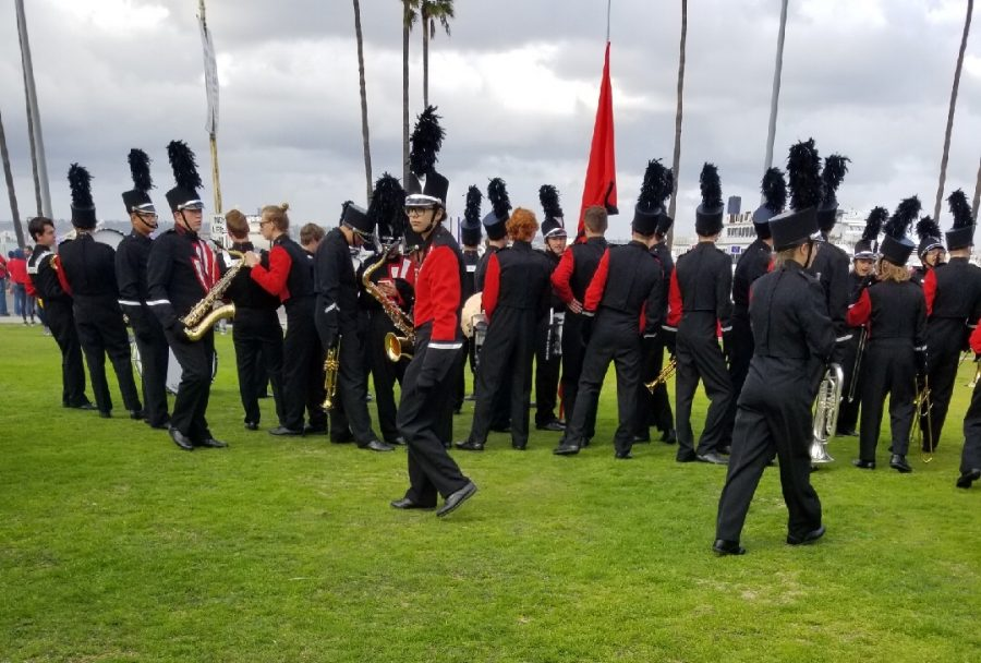 The SM North marching band prepares to perform in the Holiday Bowl parade in San Diego, California on Dec. 31.