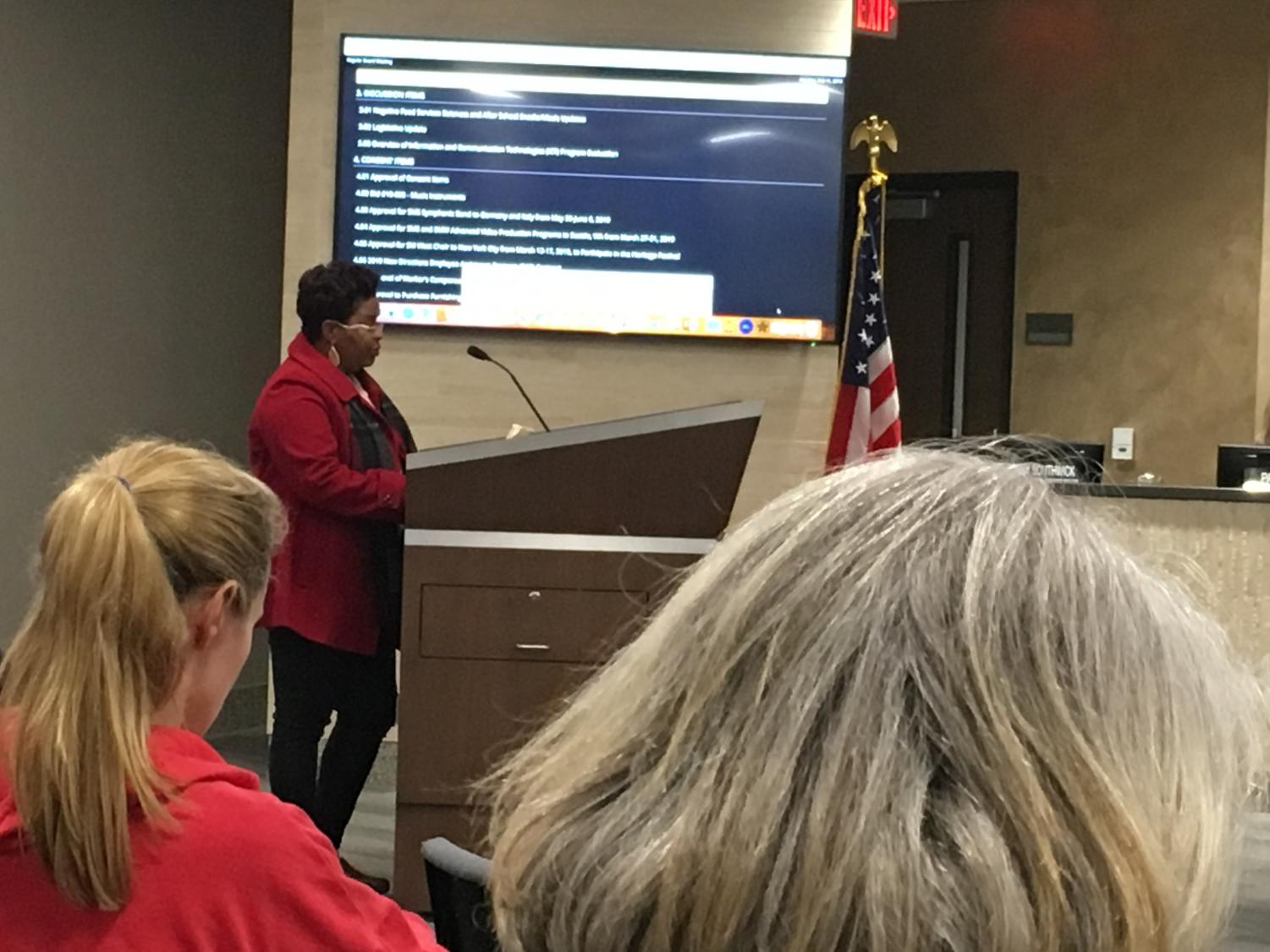Anisha Jackson speaks during the public comments section of the board of education meeting Feb. 11.