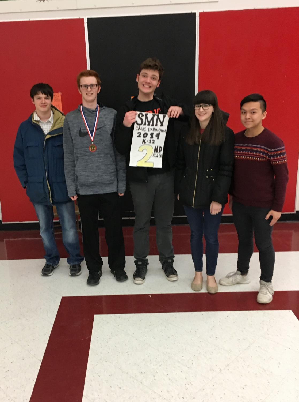 From left to right: freshman Tim Velasquez, seniors Stone Hobbs, Cameron Finazzo, Grace Altenhofen and Johnny Dinh Phan.