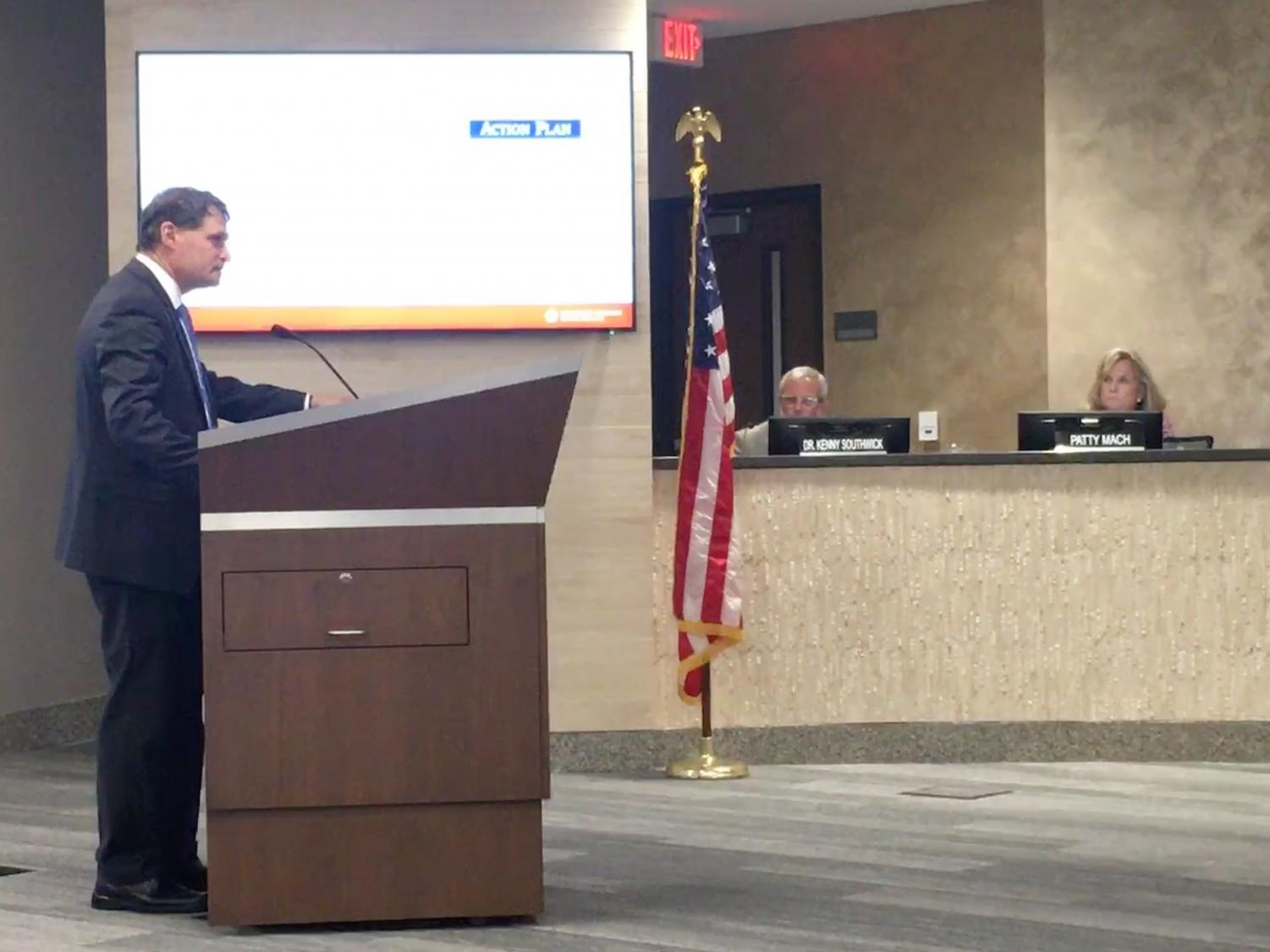 Superintendent Michael Fulton gave an update on the strategic plan at the May 29 Board of Education meeting.