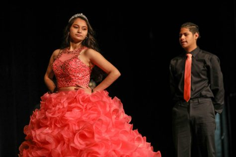 Ceily Jimenez danced with her partner Alexis Franco in her quinceañera dress.