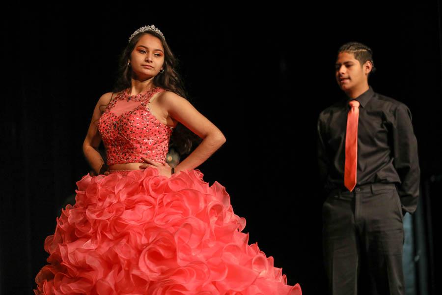 Ceily Jimenez danced with her partner Alexis Franco in her quinceañera dress.