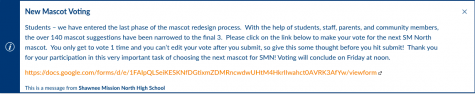 SM North Final Mascot Voting